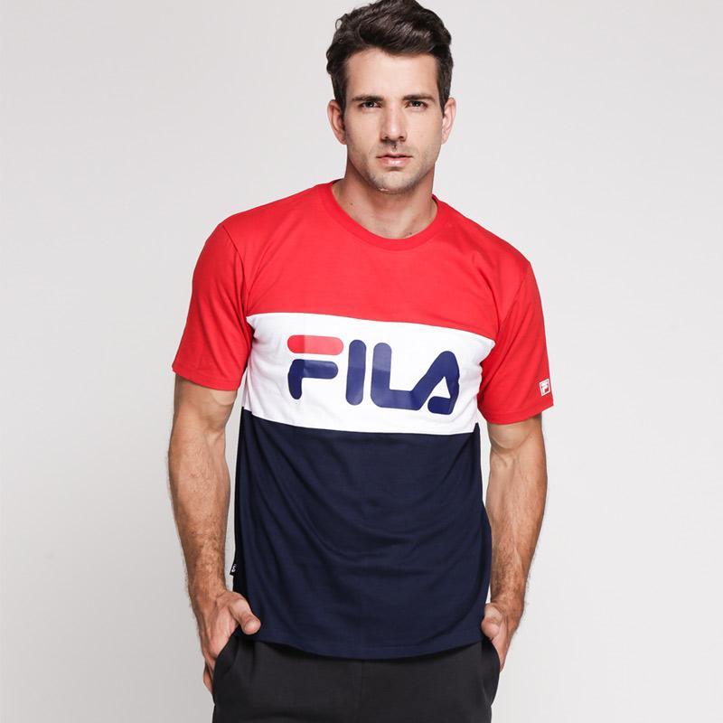 FILA Tee Tagliare Men C T-Shirt Pria - Red Navy 1b597b0e26