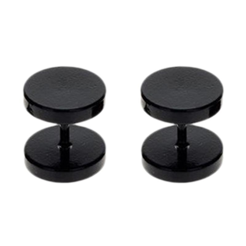 5mm+8mm+10mm, 3 pairs in total, Black Aituo Unisex Cool 2Pcs Punk Gothic Stainless Steel Round Screw Mens Barbell Ear Studs Earrings Combination