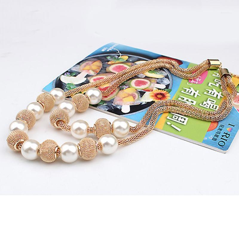 Double Layers Mesh Chain Round Faux Pearl Ball Charms Necklace