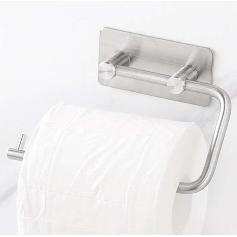 Jual Silver Self Adhesive Toilet Paper Roll Holder Roller Wall Mounted New Online Februari 2021 Blibli