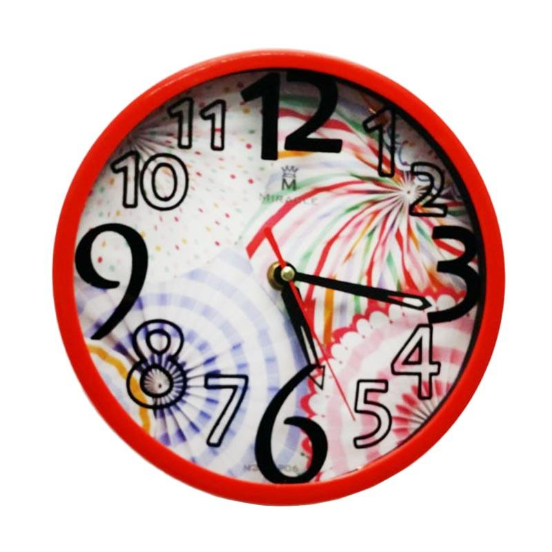 Miracle BP06 Jam Dinding Pattern - Red