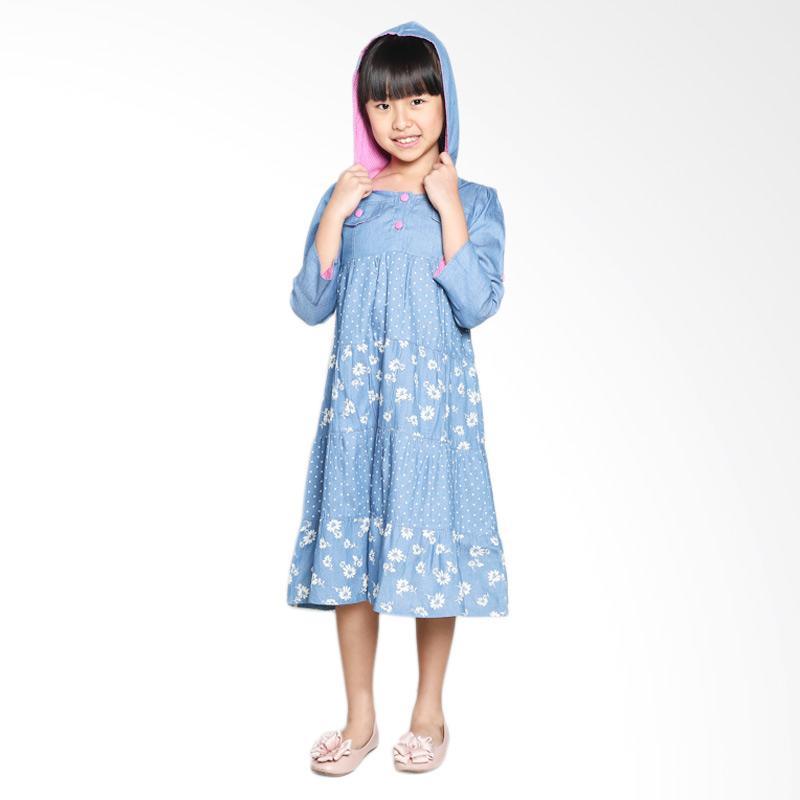 4 You Print Hoodie Dress Anak - Biru
