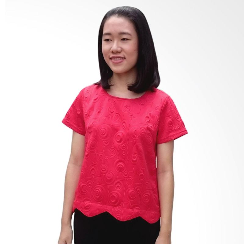 KULO Scallop Jacquard Top Blouse