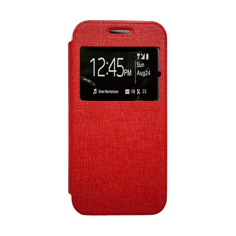 Zagbox Flip Cover Casing for Vivo Y28 - Merah