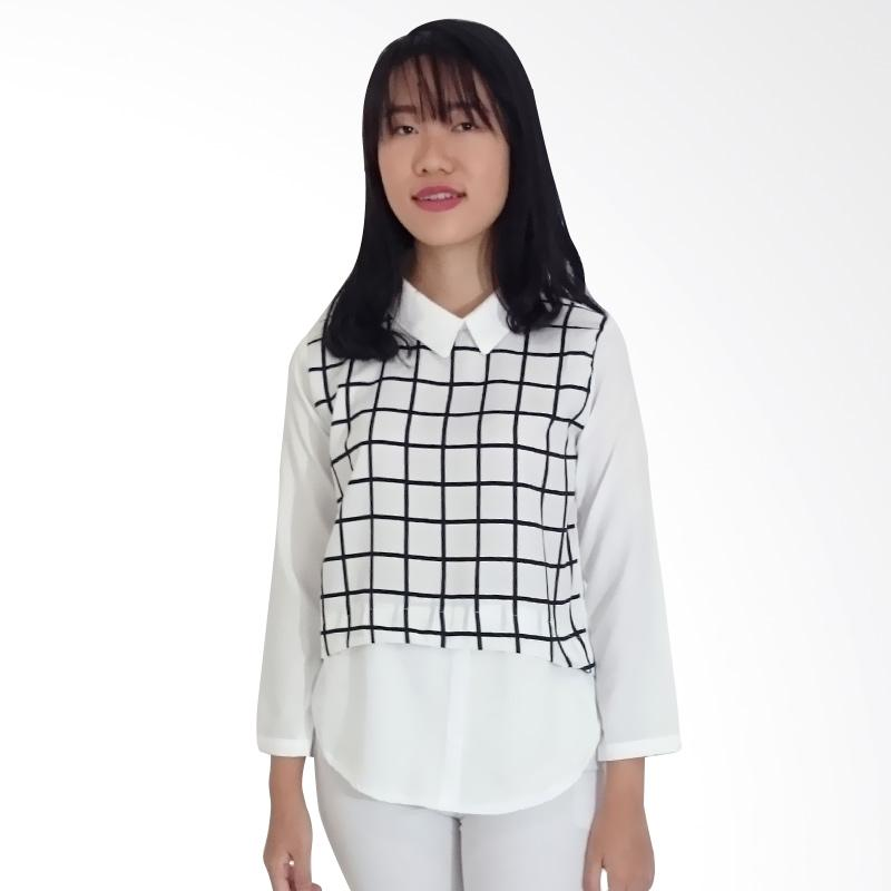 KULO Checkered Oxford Choco Blouse