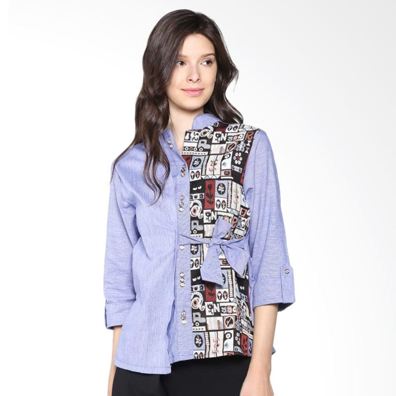 Carte Half Ethnic Blouse Shirt - Blue