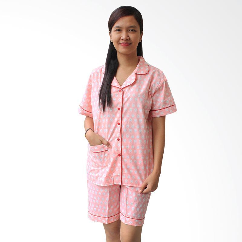 Aily SL012 Setelan Baju Tidur Pijama Wanita - Pink