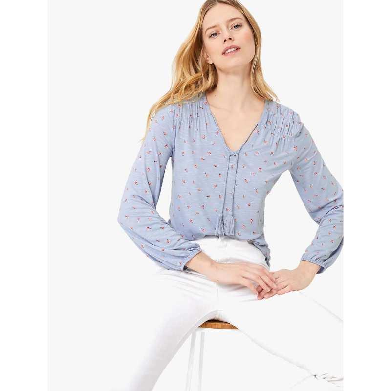 harga MARKS & SPENCER - T-shirt Wanita - Floral Tie Neck Relaxed Long Sleeve Top Blibli.com