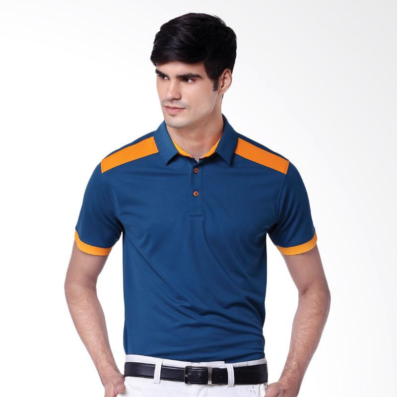 Svingolf Pottery Polo Baju Golf - Indigo Blue Mandarin Orange
