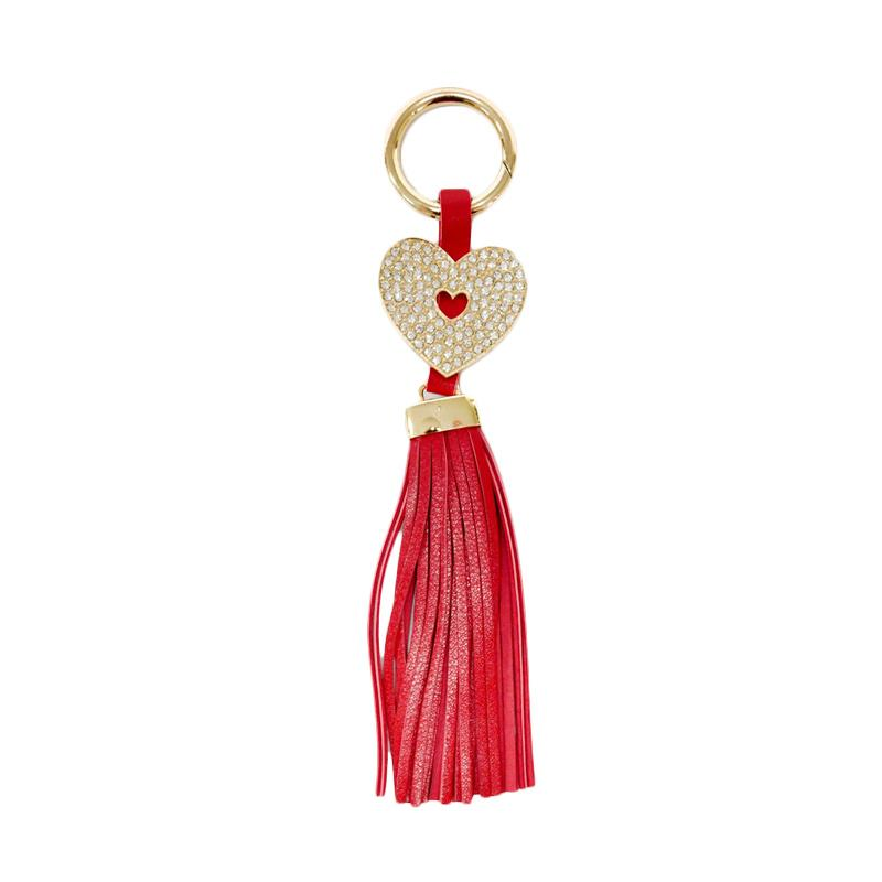SIV Key Chain Rumbai Heart Plus Manik Gantungan Kunci - Merah Maroon [GT-HK02]