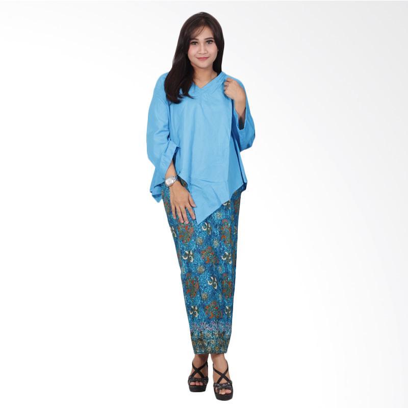 Batik Putri Ayu Solo Katun D89 Dress Batik - Biru Muda
