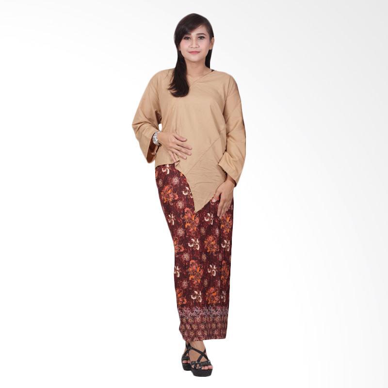 Batik Putri Ayu Solo Katun D89 Dress Batik - Cokelat