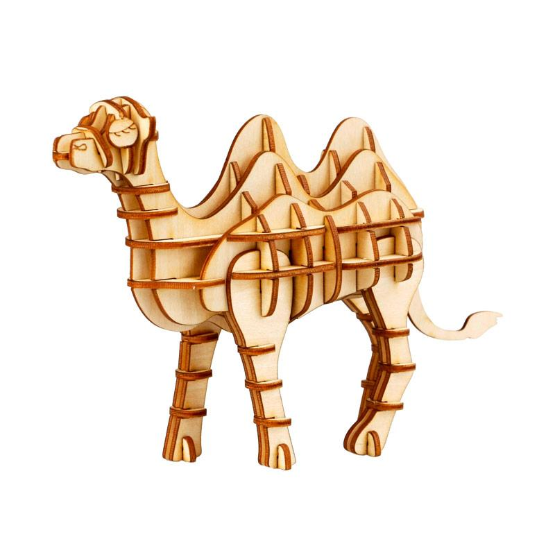 Robotime TG208 DIY 3D Laser Wooden Camel Mainan Puzzle - Brown