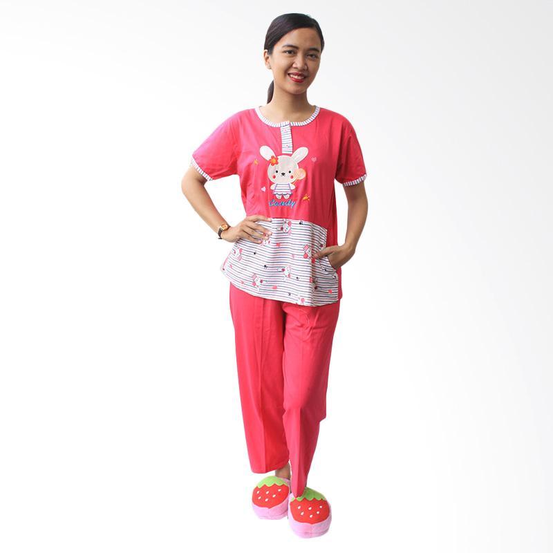 Aily 1056 Celana Panjang Setelan Baju Tidur Wanita - Pink