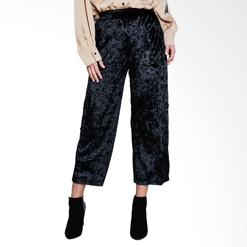 Papercut Fashion GZ 02 Mimi 882 Long Velvet Pants with Side Buttons - Black
