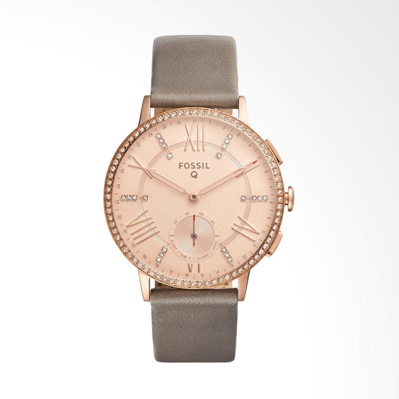 harga Fossil FTW1116 Sam Dress Q Gazer Rose Gold Round Dial Smart Analog Gray Leather Strap Jam Tangan Wanita - Grey Blibli.com