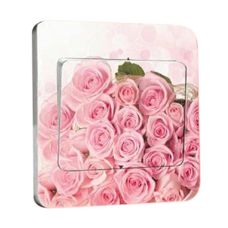 OEM Motif Rose Pink Flower Tombol Lampu Sticker