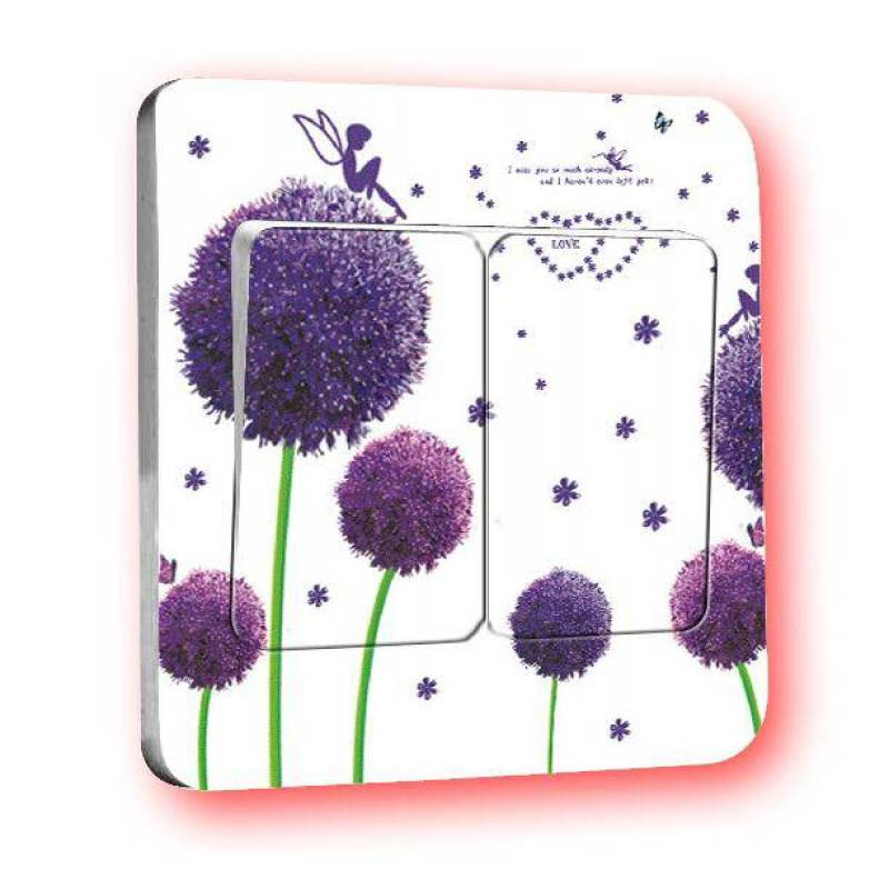 OEM Motif Dandelion Tombol Lampu Sticker - Purple