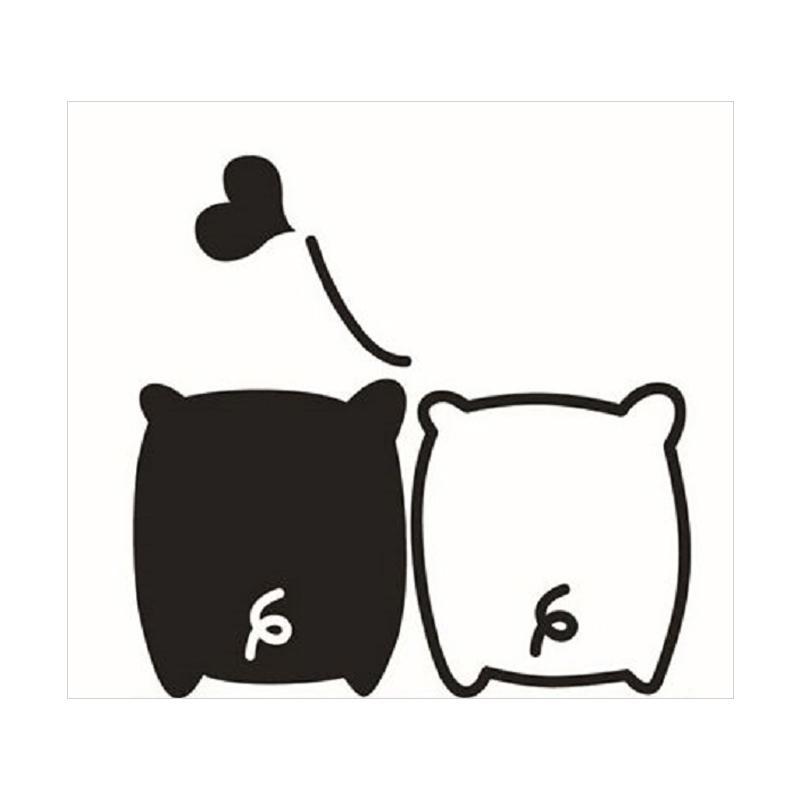 OEM Motif Animal Couple Love Dekorasi Tombol Lampu Saklar Wall Sticker - Hitam