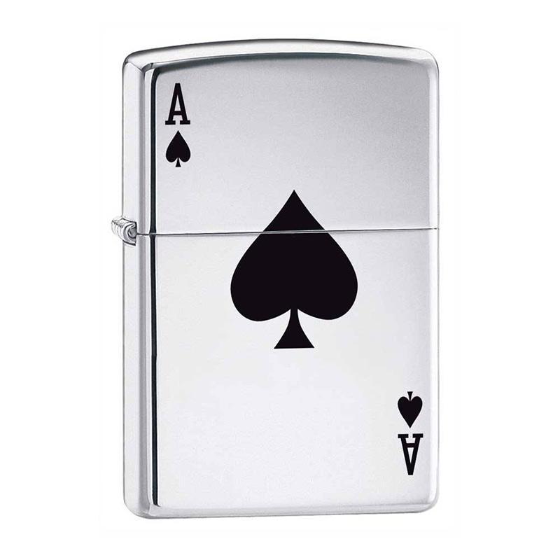 Zippo Ace of Spades Pocket Lighter - High Polish Chrome