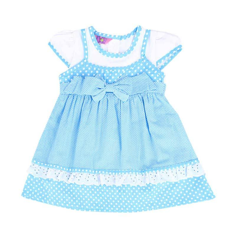 4 You Polkadot Ribbon Dress - Biru
