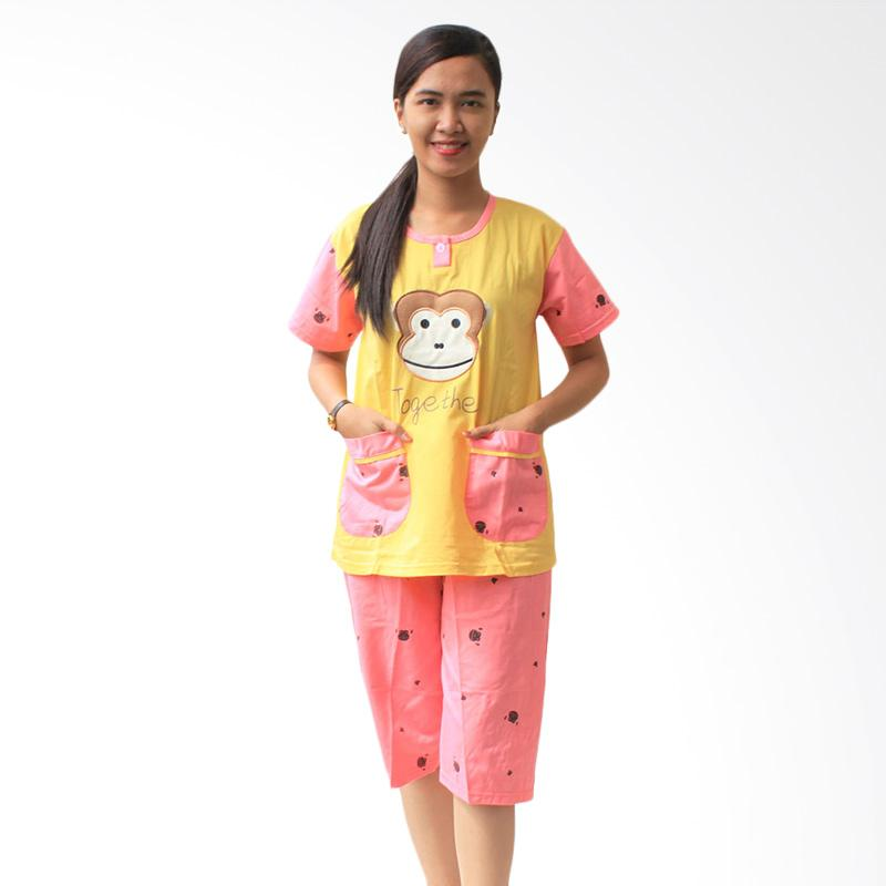 Aily Monkey 513 Setelan Baju Tidur Wanita - Kuning