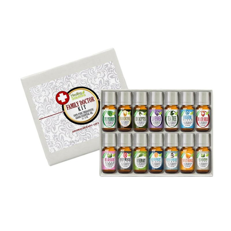 Healing Solutions Family Doctor Set 100% Pure Best Therapeutic Grade Essential Oil [14/10mL]