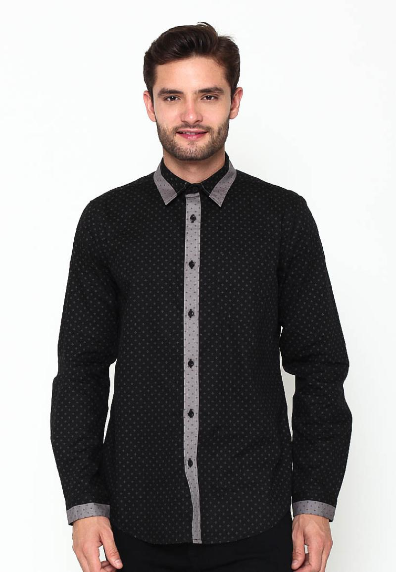 A&D Men Casual Long Sleeve Kemeja Pria - Black MS 803