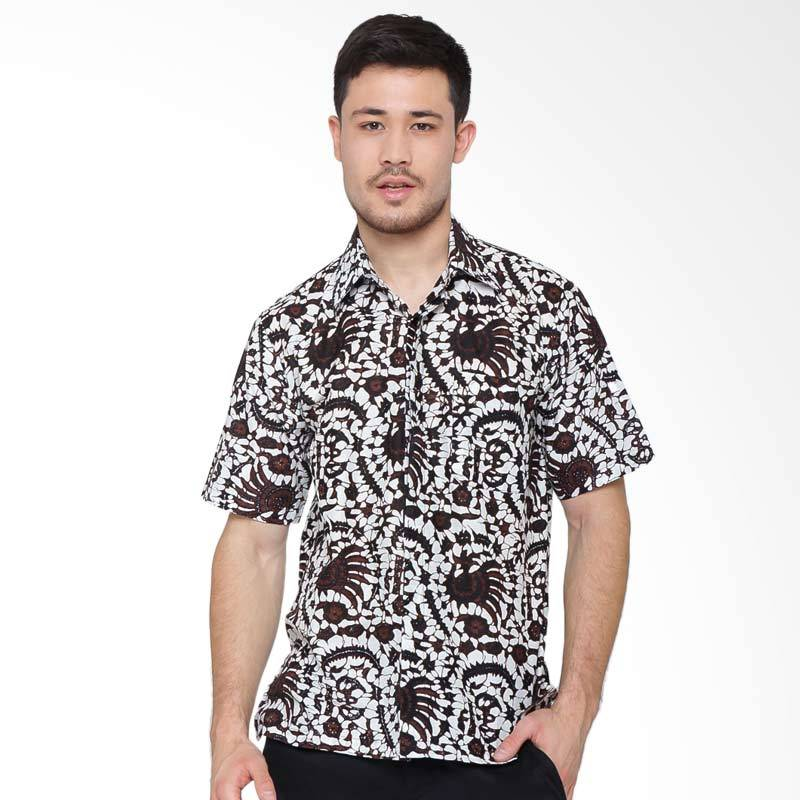 Jening Batik Short Sleeve Atasan Pria - White Brown RAFA-002