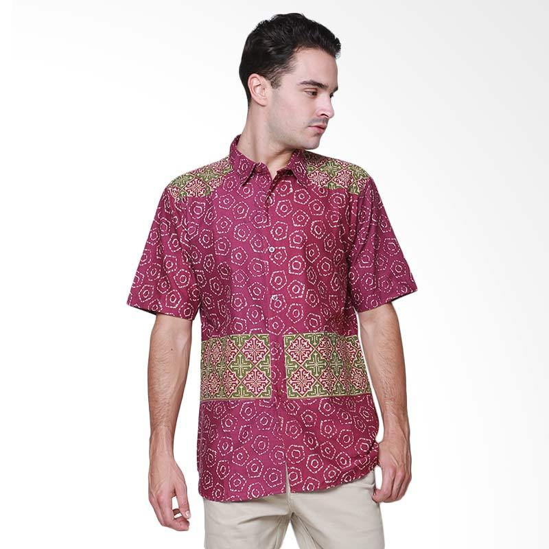 Days by Danarhadi Men Jumput Segi Top Hem Batik Pria - Purple Green