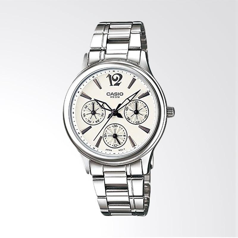 Casio LTP-2085D-7AVDF Enticer Ladies Silver Dial Ion Plated Jam Tangan Wanita