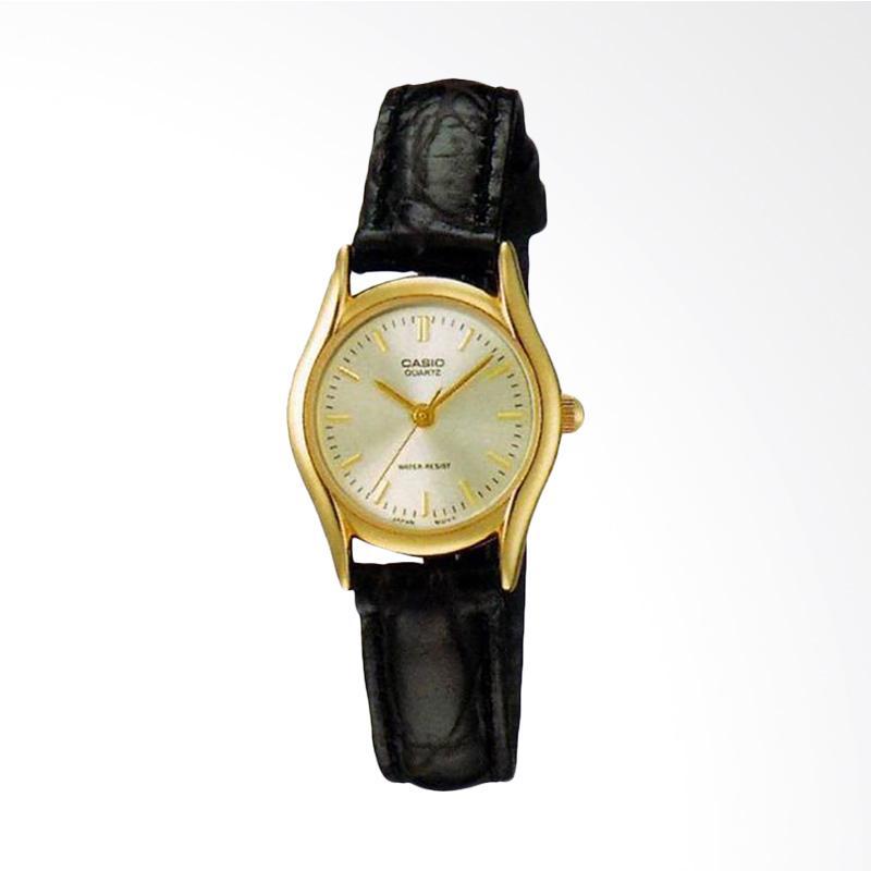 Casio LTP-1094Q-7ARDF Enticer Ladies Gold Dial Black Leather Strap Jam Tangan Wanita