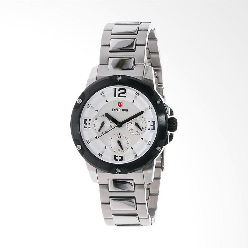 Expedition EXF-6698-BFBTBSL White Dial Stainless Steel Jam Tangan Unisex - Silver