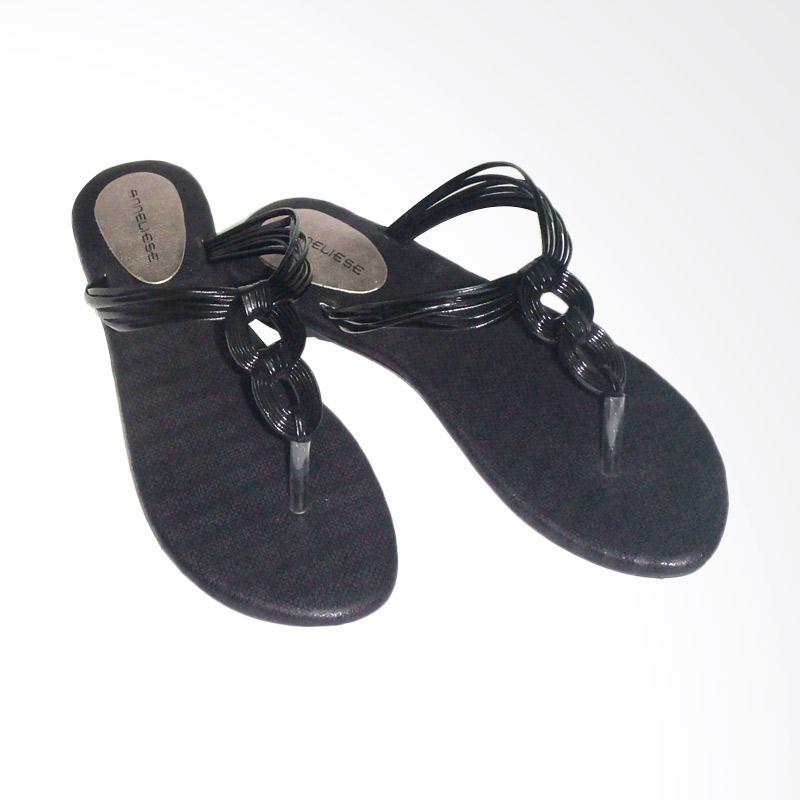 Anneliese Ussy Black Sandal Flat Wanita