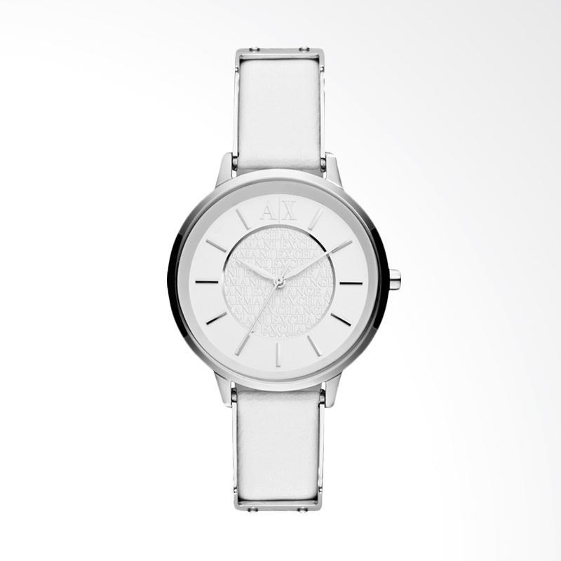 Armani Exchange AX5300 Ladies White Dial Stainless Steel Case White Leather Strap