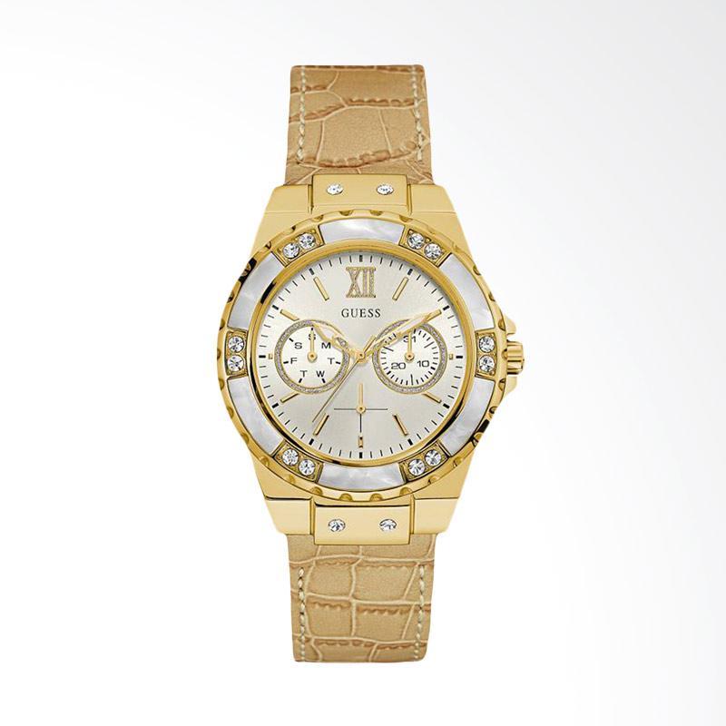 Guess U0775L2 Women Iconic White Dial Beige Leather Strap Multi-function Watch Jam Tangan Wanita - Gold
