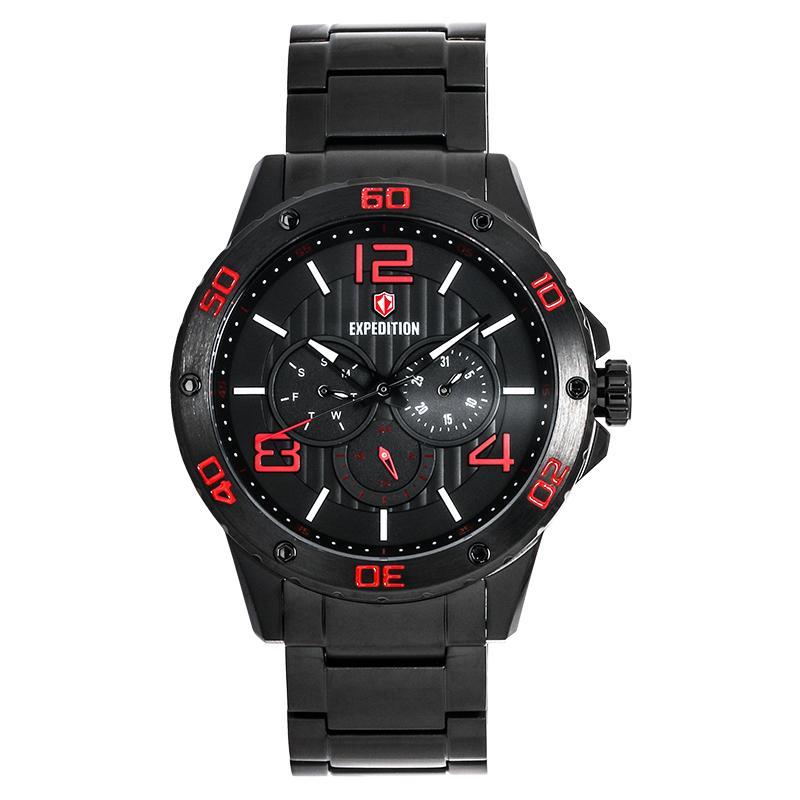 Expedition Man Black Pattern Dial Black Stainless Steel Jam Tangan Pria - Black EXF-6719-MFBIPBARE