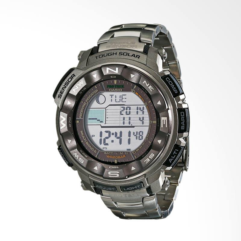 Casio Men's Pathfinder Triple Sensor Tough Solar Digital Multi-Function Titanium Pathfinder Watch Jam Tangan Pria PRW2500T-7CR