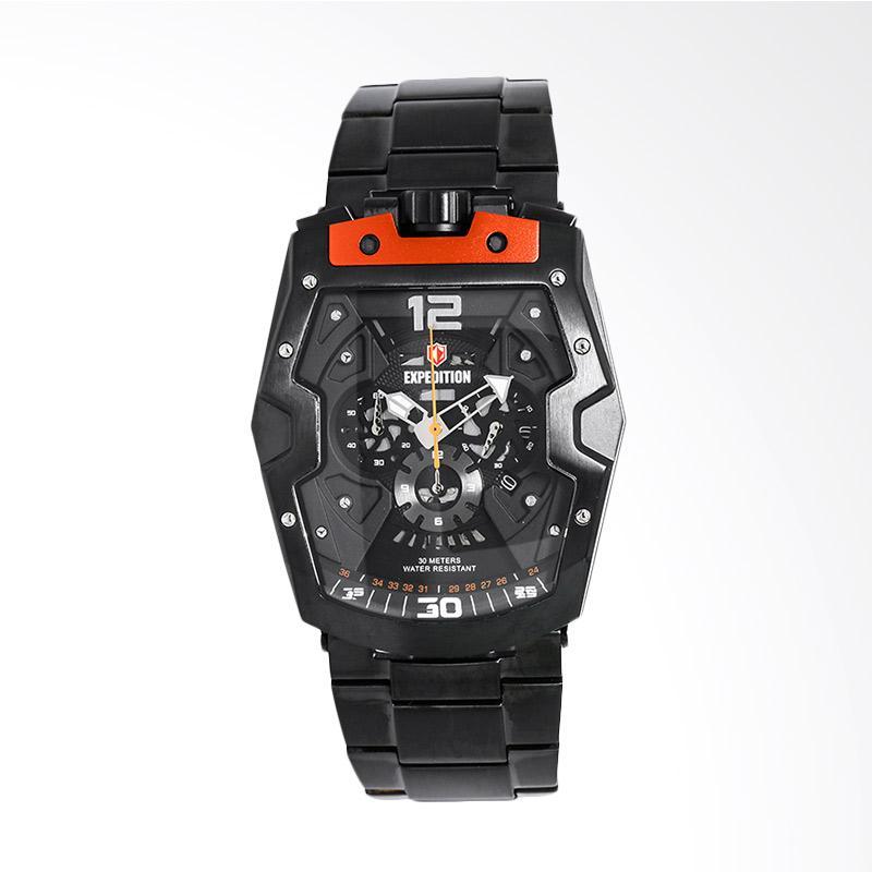 Expedition Man Chronograph Skeleton Dial Stainless Steel Jam Tangan Pria - Black EXF-6733-MCBIPBAOR