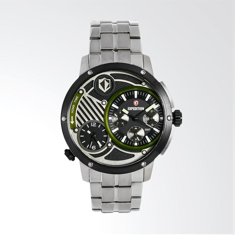 Expedition Man Multifunction Black Dial Stainless Steel Jam Tangan Pria - Silver EXF-6736-MTBTBBAGN