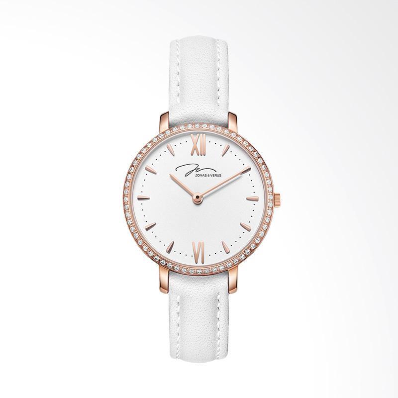 Jonas Verus X00752-Q3.PPWLWD Minimalist Leather Strap Ladies Quartz Watch Jam Tangan Wanita - White