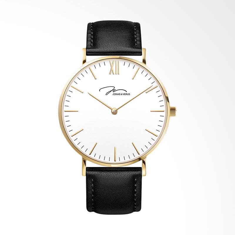 Jonas Verus X01647-Q3.GGWLB White Dial Black Leather Strap Jam Tangan Wanita