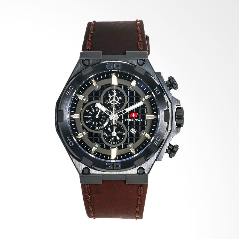 Swiss Navy 6803MABBKBN Man Chronograph Pattern Dial Leather Strap Jam Tangan Pria - Brown Black