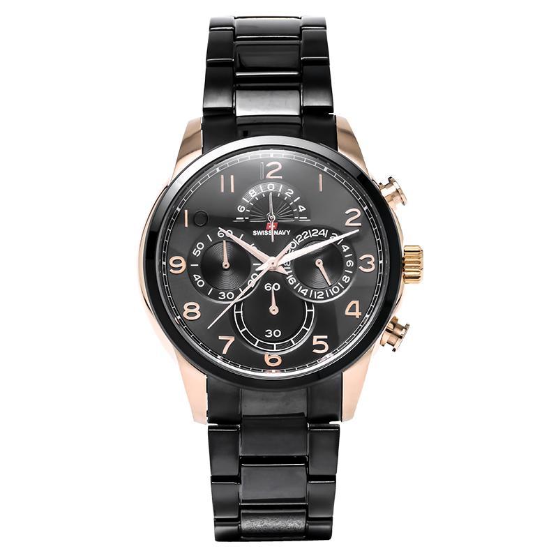 Swiss Navy Man Chronograph Black Dial Stainless Steel Jam Tangan Pria - Black 8307MRGBK