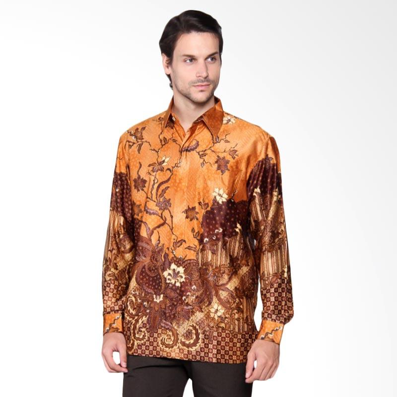 Batik Heritage Exclusive Linen Bunga Kipas Kemeja Panjang Pria - Yellow