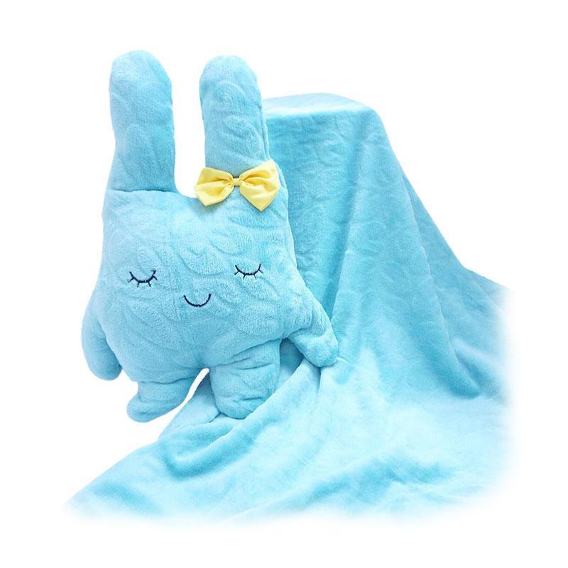 GOTF FusionHome Bunny dengan Pita Boneka Selimut Blue