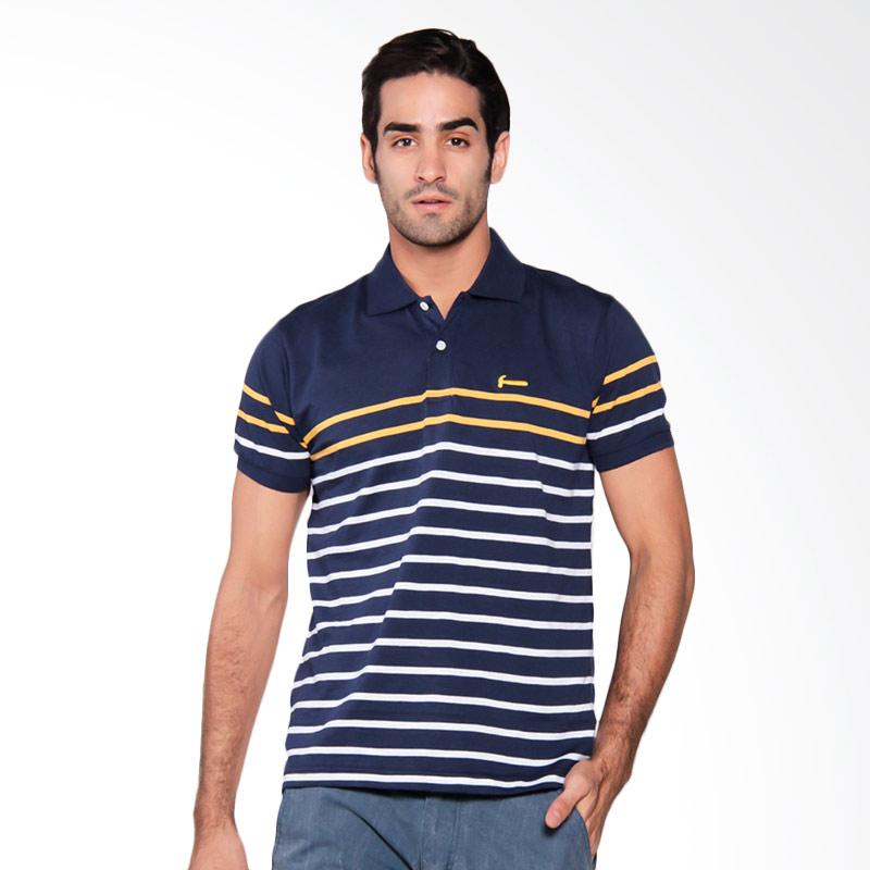 Hammer Men Stripe Mood Polo Shirt Pria - Indigo / White [H1PS407N1]