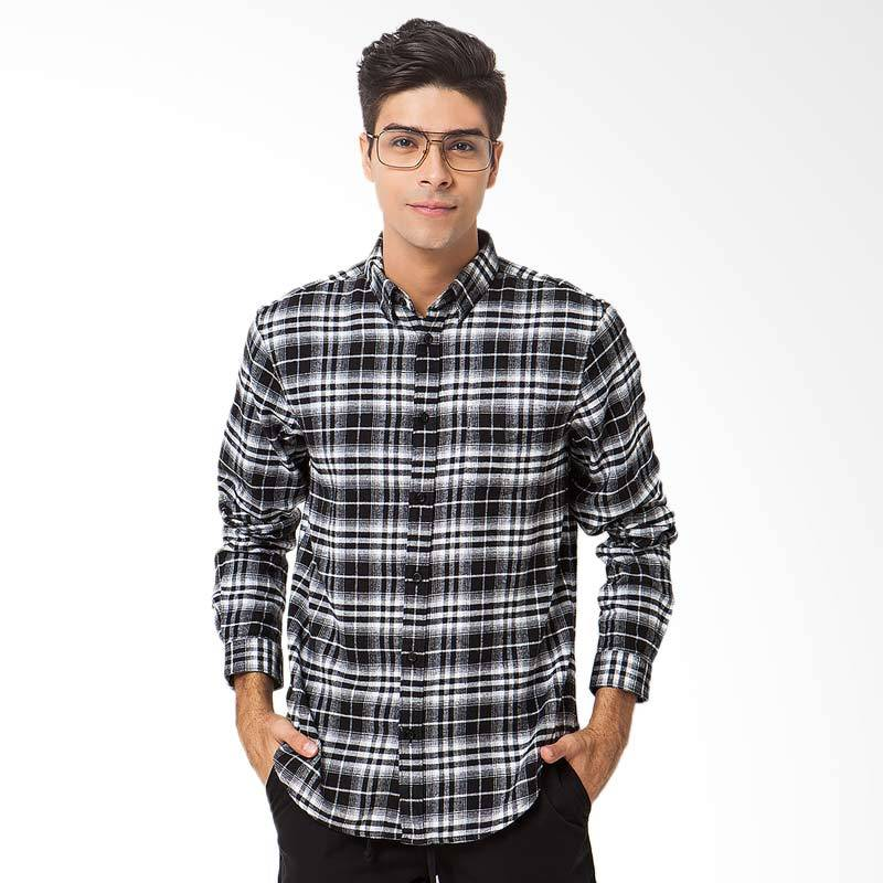 A&D Fashion Long Sleeve Mens Shirt Atasan Pria - Black White [MS 604]