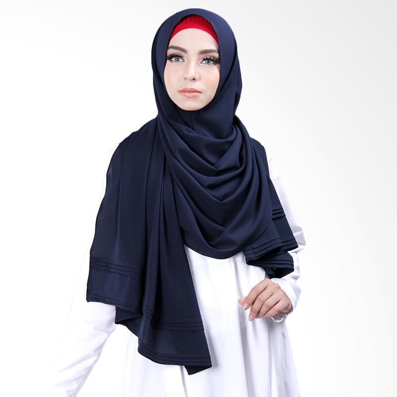 Cantik Kerudung Khloe Pleated Shawl Jilbab Instant - No.9 Navy Blue