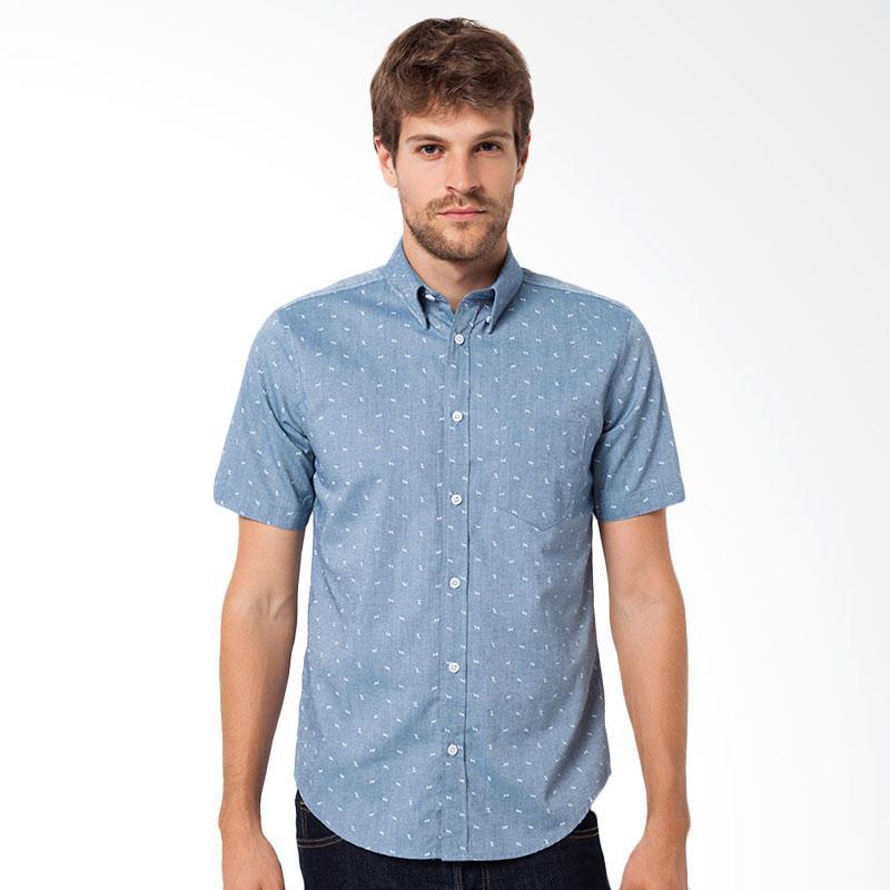A&D MS Mens Shirt Short Sleeve Kemeja Pendek Pria - Blue [722A]